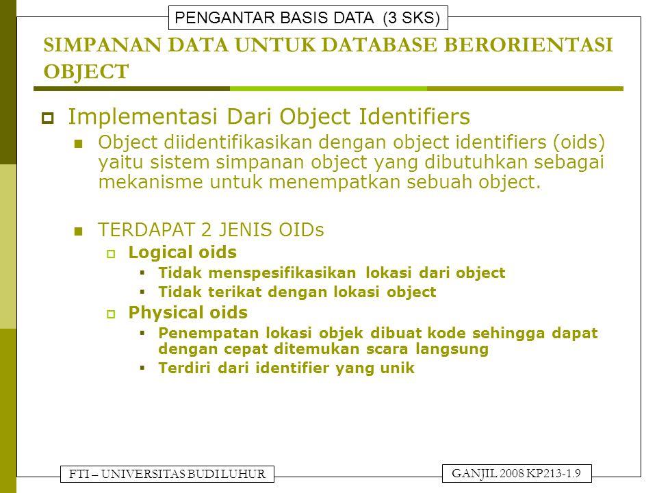 FTI – UNIVERSITAS BUDI LUHUR PENGANTAR BASIS DATA (3 SKS) GANJIL 2008 KP213-1.10 SIMPANAN DATA UNTUK DATABASE BERORIENTASI OBJECT PHYSICAL OBJECT IDENTIFIER VOLUME.BLOCK.OFFSETID YANG UNIK OBJEK ID YANG UNIKDATA STRUKTUR UMUM