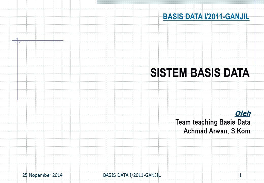 25 Nopember 2014BASIS DATA I/2011-GANJIL12 Data model adalah sekumpulan konsep yang digunakan untuk menjelaskan data Schema adalah deskripsi dari sekumpulan data dengan menggunakan suatu data model tertentu Relational data model adalah model data yang paling banyak digunakan pada saat ini Konsep utama: relasi (relation), yang pada dasarnya berupa tabel yang terdiri dari sejumlah baris dan kolom Setiap relasi mempunyai sebuah skema (schema), yang menjelaskan kolom-kolom ( fields ) dari sebuah tabel Contoh, informasi mahasiswa (students) di suatu universitas dapat disimpan dalam sebuah relasi dengan skema Students( sid : string, name : string, login : string, age : integer, gpa : real) Data Models SISTEM BASIS DATA
