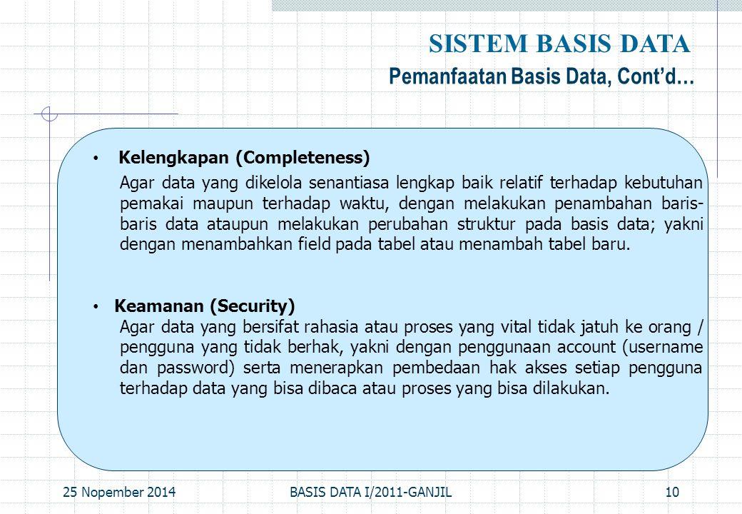 25 Nopember 2014BASIS DATA I/2011-GANJIL10 Pemanfaatan Basis Data, Cont'd… SISTEM BASIS DATA Kelengkapan (Completeness) Agar data yang dikelola senant
