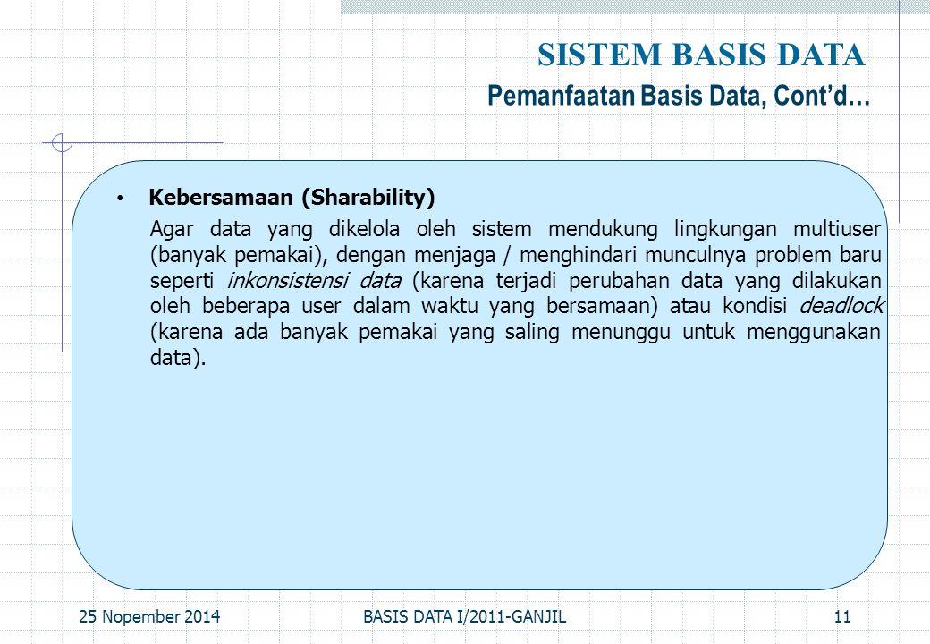 25 Nopember 2014BASIS DATA I/2011-GANJIL11 Pemanfaatan Basis Data, Cont'd… SISTEM BASIS DATA Kebersamaan (Sharability) Agar data yang dikelola oleh si