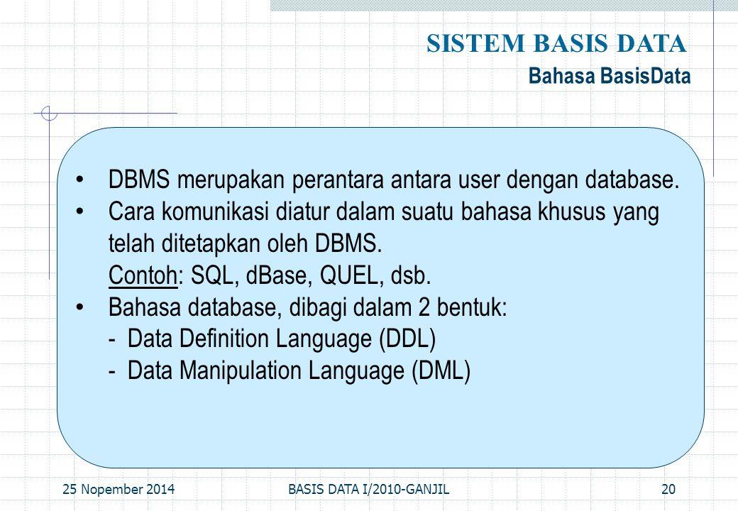 25 Nopember 2014BASIS DATA I/2010-GANJIL20 Bahasa BasisData SISTEM BASIS DATA DBMS merupakan perantara antara user dengan database. Cara komunikasi di