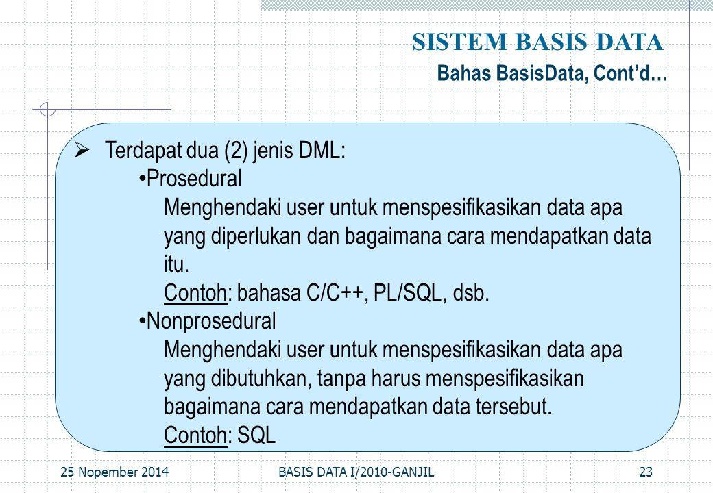 25 Nopember 2014BASIS DATA I/2010-GANJIL23 Bahas BasisData, Cont'd… SISTEM BASIS DATA  Terdapat dua (2) jenis DML: Prosedural Menghendaki user untuk