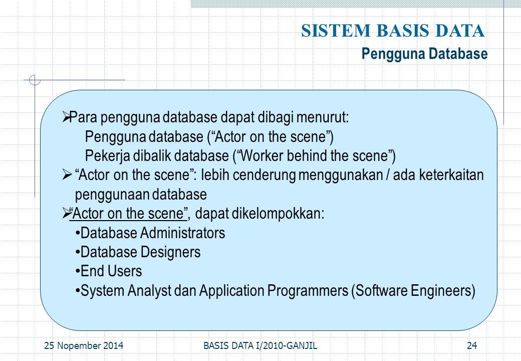 """25 Nopember 2014BASIS DATA I/2010-GANJIL24 Pengguna Database SISTEM BASIS DATA  Para pengguna database dapat dibagi menurut: Pengguna database (""""Acto"""