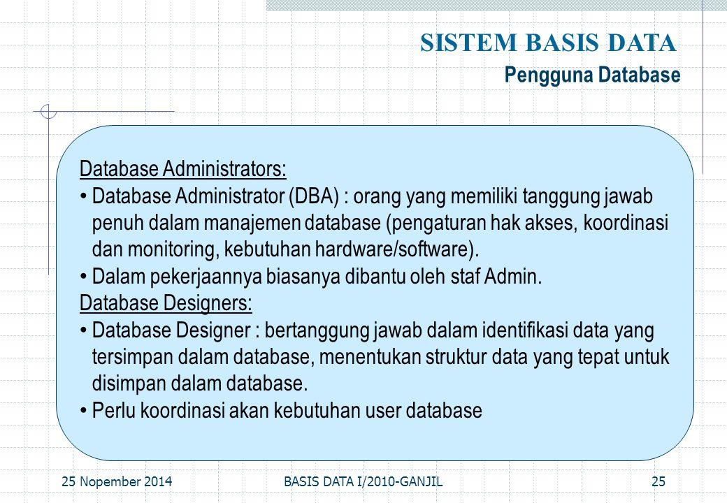 25 Nopember 2014BASIS DATA I/2010-GANJIL25 Pengguna Database SISTEM BASIS DATA Database Administrators: Database Administrator (DBA) : orang yang memi