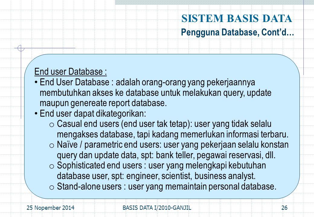 25 Nopember 2014BASIS DATA I/2010-GANJIL26 Pengguna Database, Cont'd… SISTEM BASIS DATA End user Database : End User Database : adalah orang-orang yan