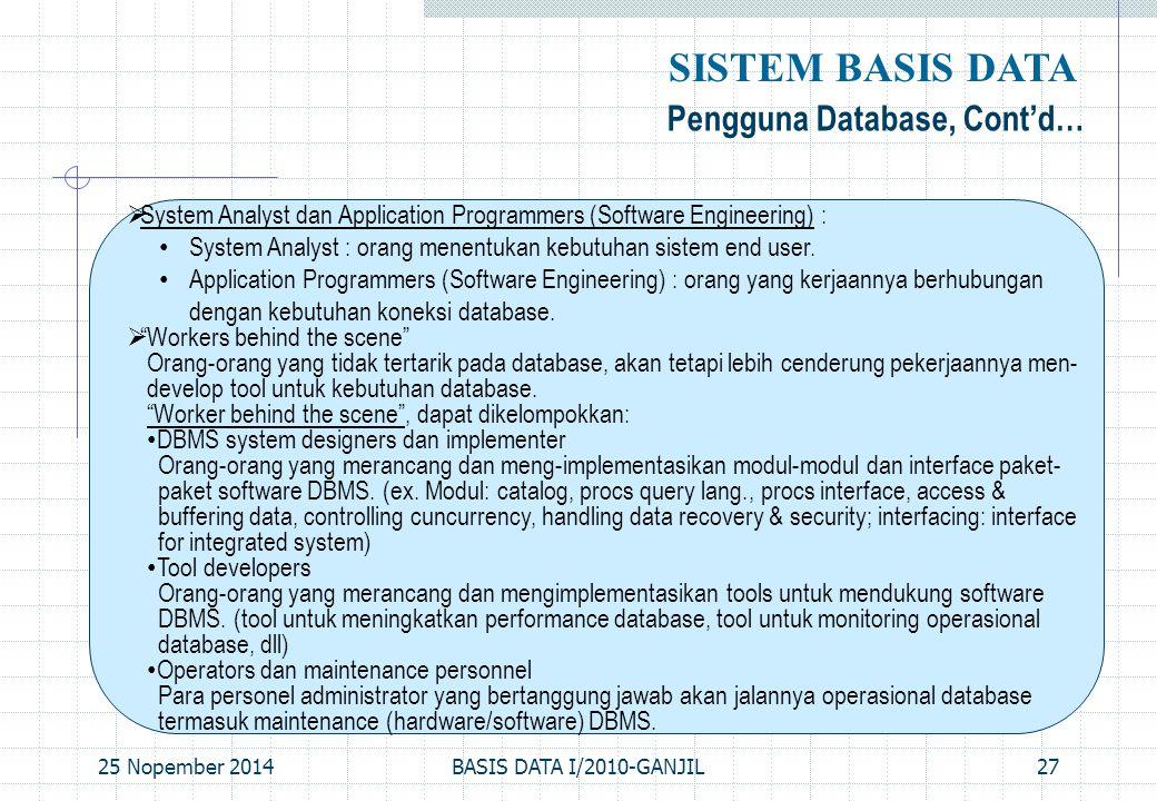 25 Nopember 2014BASIS DATA I/2010-GANJIL27 Pengguna Database, Cont'd… SISTEM BASIS DATA  System Analyst dan Application Programmers (Software Enginee