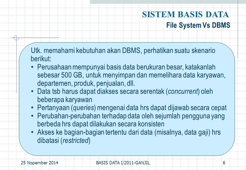 25 Nopember 2014BASIS DATA I/2011-GANJIL7 File System Vs DBMS, Cont'd… SISTEM BASIS DATA Data tsb dapat saja disimpan dalam file systems suatu sistem operasi.