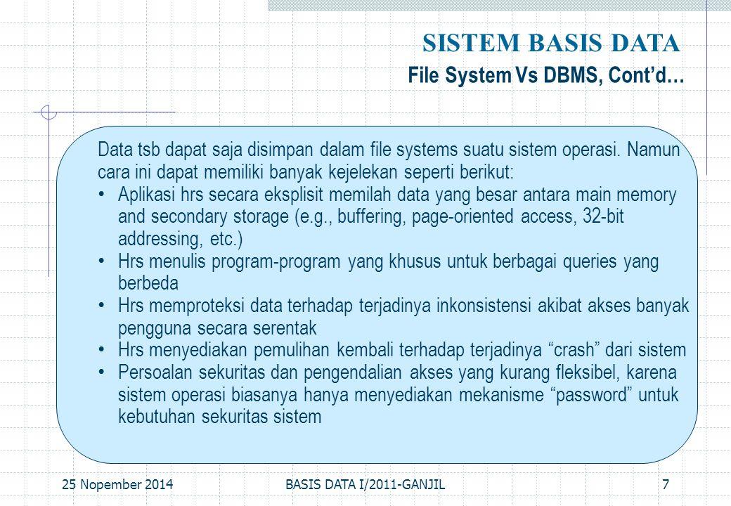 25 Nopember 2014BASIS DATA I/2011-GANJIL8 Pemanfaatan Basis Data SISTEM BASIS DATA Kecepatan dan Kemudahan (Speed) Yakni agar pengguna basis data bisa: -menyimpan data -melakukan perubahan/manipulasi terhadap data -menampilkan kembali data dengan lebih cepat dan mudah dibandingkan dengan cara biasa (manual).