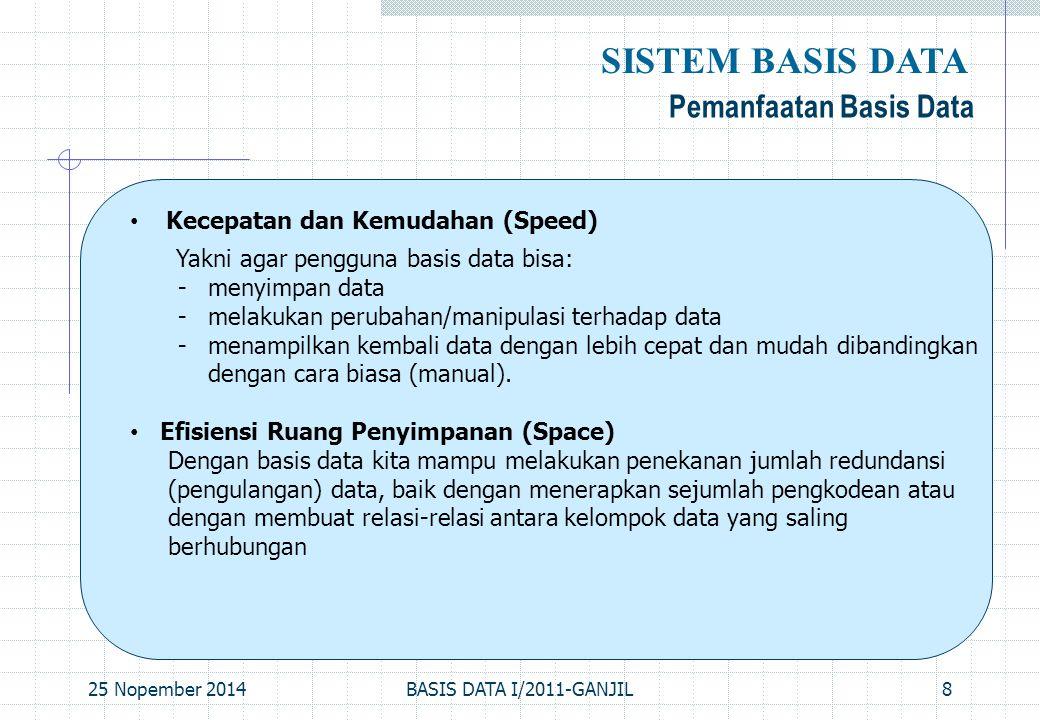 25 Nopember 2014BASIS DATA I/2011-GANJIL8 Pemanfaatan Basis Data SISTEM BASIS DATA Kecepatan dan Kemudahan (Speed) Yakni agar pengguna basis data bisa