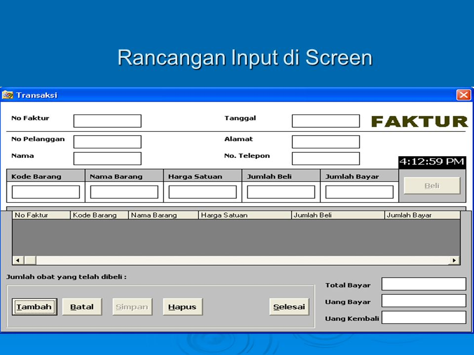 Rancangan Input di Screen