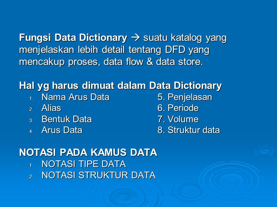 Fungsi Data Dictionary  suatu katalog yang menjelaskan lebih detail tentang DFD yang mencakup proses, data flow & data store. Hal yg harus dimuat dal