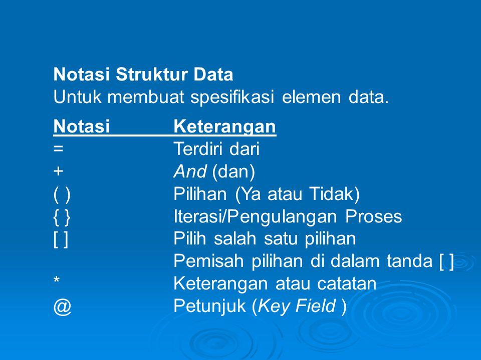 Notasi Struktur Data Untuk membuat spesifikasi elemen data. NotasiKeterangan =Terdiri dari +And (dan) ( )Pilihan (Ya atau Tidak) { }Iterasi/Pengulanga