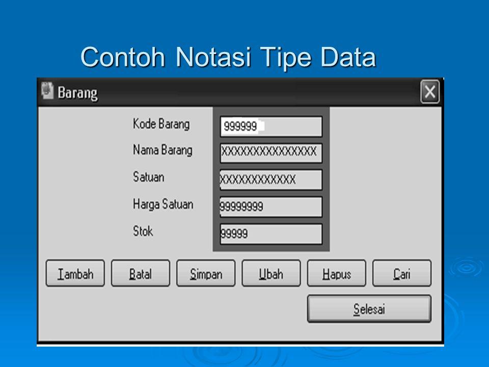 Contoh Notasi Tipe Data