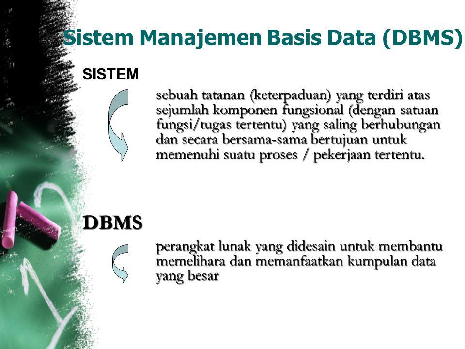 Sistem Manajemen Basis Data (DBMS) SISTEM sebuah tatanan (keterpaduan) yang terdiri atas sejumlah komponen fungsional (dengan satuan fungsi/tugas tert