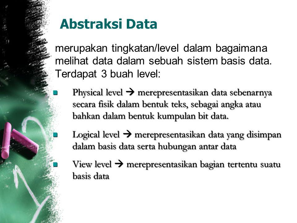 Abstraksi Data merupakan tingkatan/level dalam bagaimana melihat data dalam sebuah sistem basis data. Terdapat 3 buah level: Physical level  merepres