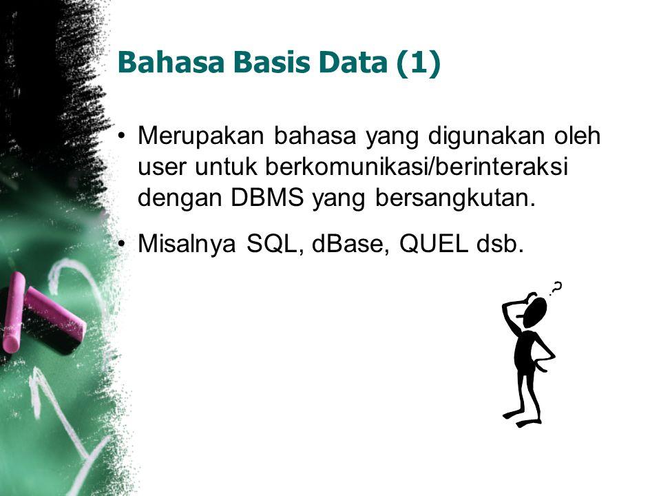 Bahasa Basis Data (1) Merupakan bahasa yang digunakan oleh user untuk berkomunikasi/berinteraksi dengan DBMS yang bersangkutan. Misalnya SQL, dBase, Q