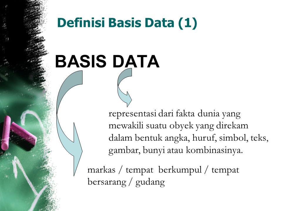 Definisi Basis Data (2) BASIS DATA  Mekanisme yang digunakan untuk menyimpan informasi atau data [Stephens dan Plew(2000)]  Kumpulan data berisi informasi yang sesuai untuk sebuah perusahaan [Silberschatz,dkk (2002)]  Kumpulan data, umumnya mendeskripsikan aktivitas satu organisasi atau lebih yang berhubungan [Ramakrishnan dan Gehrke(2003)]