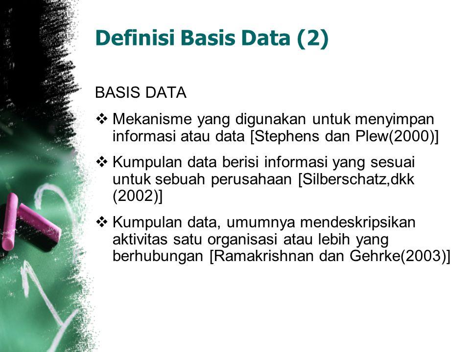 Definisi Basis Data (3)  Himpunan kelompok data (arsip) yang saling berhubungan yang diorganisasi sedemikian rupa agar kelak dapat dimanfaatkan kembali dengan cepat dan mudah  Kumpulan data yang saling berhubungan yang disimpan secara bersama sedemikian rupa dan tanpa pengulangan (redundancy) yang tidak perlu, untuk memenuhi berbagai kebutuhan  Kumpulan file/tabel/arsip yang saling berhubungan yang disimpan dalam media penyimpanan tertentu