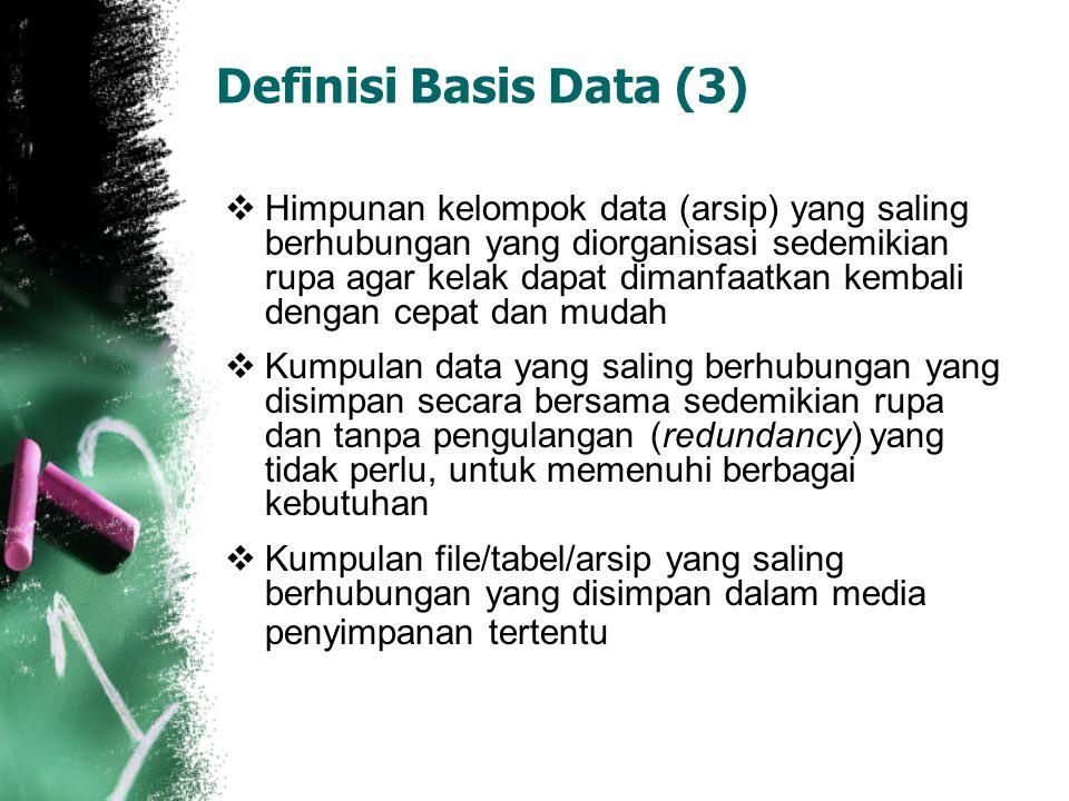 Definisi Basis Data (3)  Himpunan kelompok data (arsip) yang saling berhubungan yang diorganisasi sedemikian rupa agar kelak dapat dimanfaatkan kemba