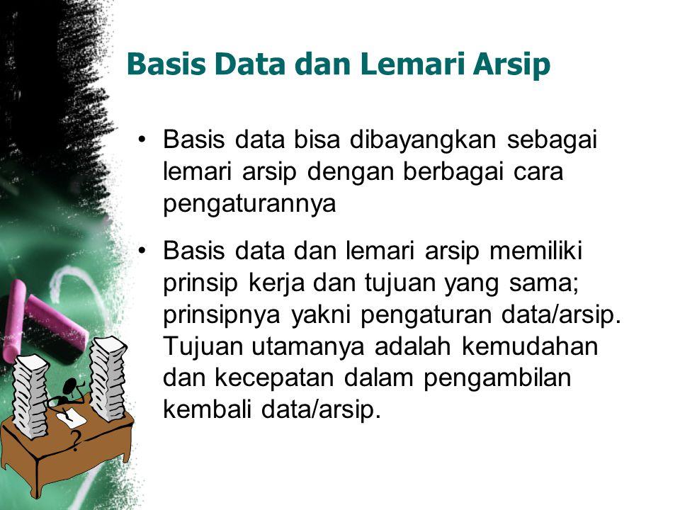 Basis Data dan Lemari Arsip Basis data bisa dibayangkan sebagai lemari arsip dengan berbagai cara pengaturannya Basis data dan lemari arsip memiliki p