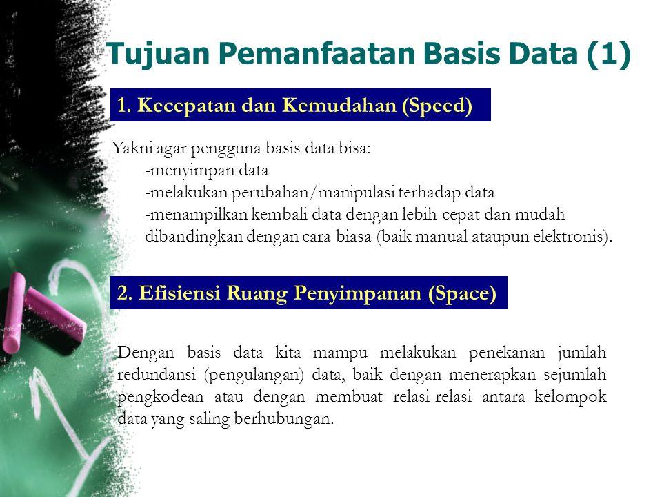 Tujuan Pemanfaatan Basis Data (2) 3.