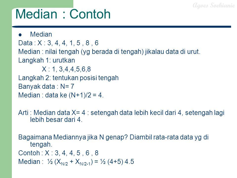 Agoes Soehianie Median : Contoh Median Data : X : 3, 4, 4, 1, 5, 8, 6 Median : nilai tengah (yg berada di tengah) jikalau data di urut. Langkah 1: uru