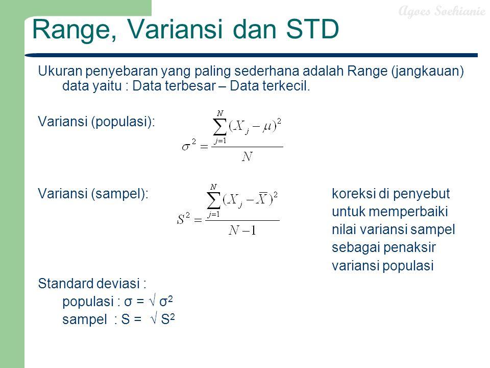 Agoes Soehianie Range, Variansi dan STD Ukuran penyebaran yang paling sederhana adalah Range (jangkauan) data yaitu : Data terbesar – Data terkecil. V