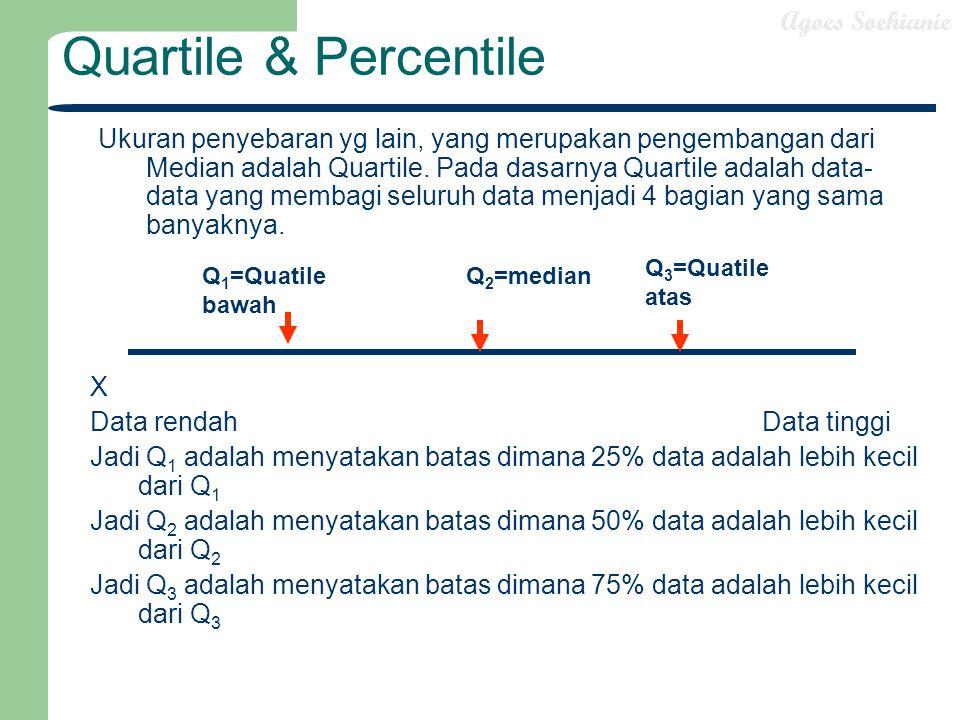 Agoes Soehianie Quartile & Percentile Ukuran penyebaran yg lain, yang merupakan pengembangan dari Median adalah Quartile. Pada dasarnya Quartile adala