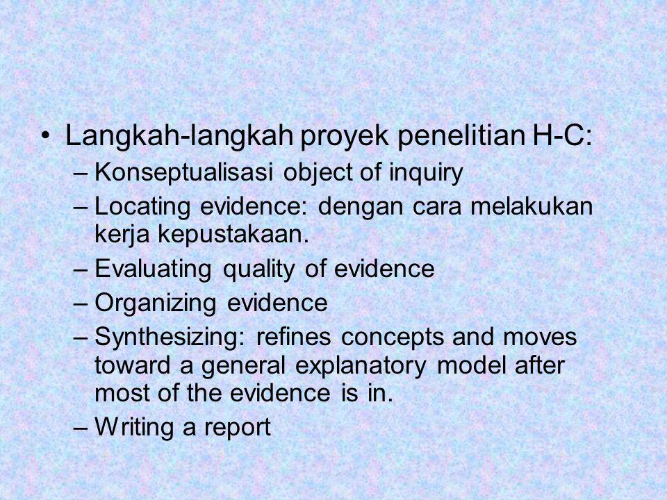 Langkah-langkah proyek penelitian H-C: –Konseptualisasi object of inquiry –Locating evidence: dengan cara melakukan kerja kepustakaan. –Evaluating qua