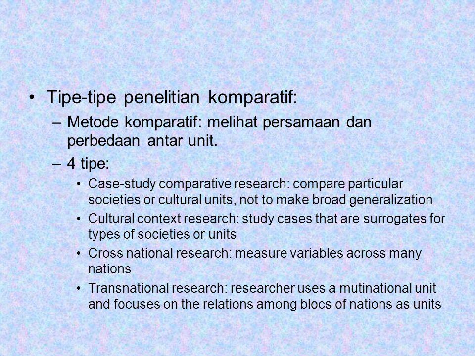 Tipe-tipe penelitian komparatif: –Metode komparatif: melihat persamaan dan perbedaan antar unit.