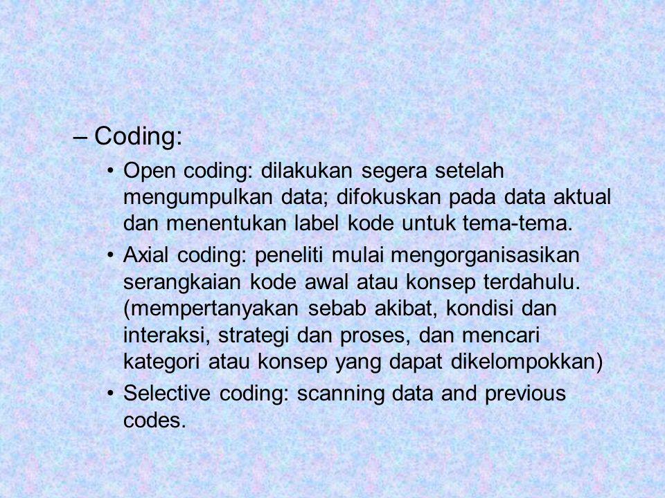 –Coding: Open coding: dilakukan segera setelah mengumpulkan data; difokuskan pada data aktual dan menentukan label kode untuk tema-tema. Axial coding: