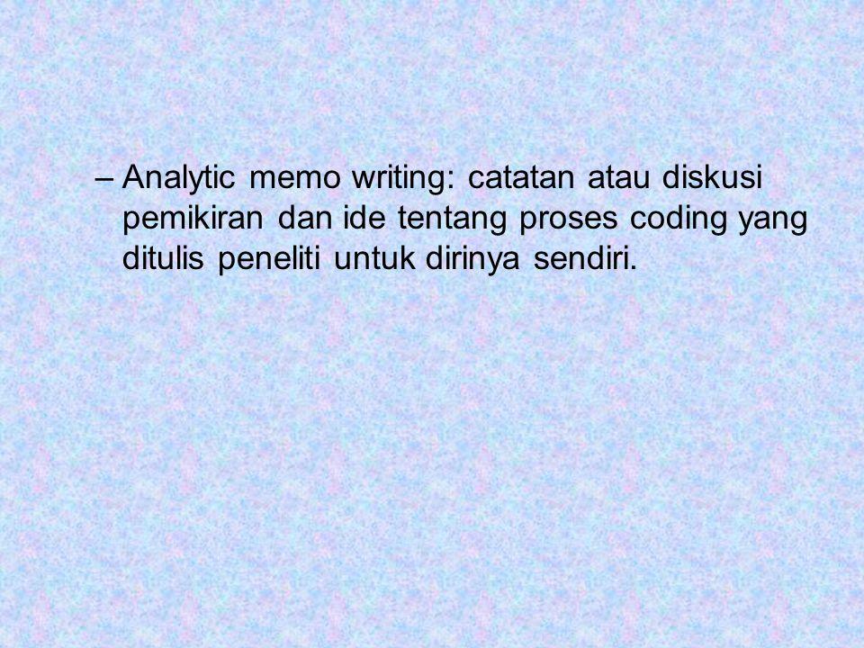 –Analytic memo writing: catatan atau diskusi pemikiran dan ide tentang proses coding yang ditulis peneliti untuk dirinya sendiri.