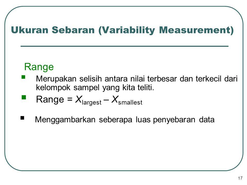 17 Range  Merupakan selisih antara nilai terbesar dan terkecil dari kelompok sampel yang kita teliti.  Range = X largest – X smallest  Menggambarka