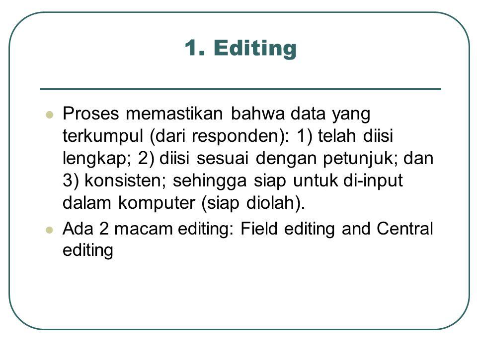 1. Editing Proses memastikan bahwa data yang terkumpul (dari responden): 1) telah diisi lengkap; 2) diisi sesuai dengan petunjuk; dan 3) konsisten; se