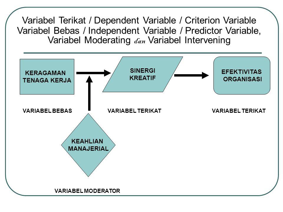 SINERGI KREATIF KERAGAMAN TENAGA KERJA EFEKTIVITAS ORGANISASI KEAHLIAN MANAJERIAL VARIABEL BEBASVARIABEL TERIKAT VARIABEL MODERATOR Variabel Terikat /