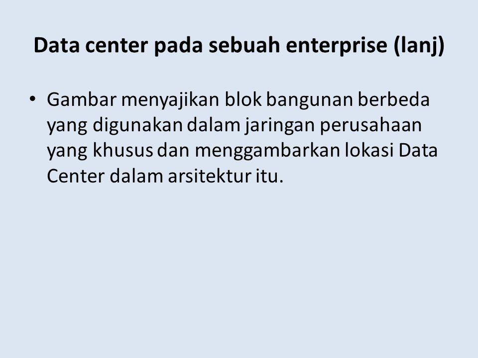 Data center pada sebuah enterprise (lanj) Gambar menyajikan blok bangunan berbeda yang digunakan dalam jaringan perusahaan yang khusus dan menggambark