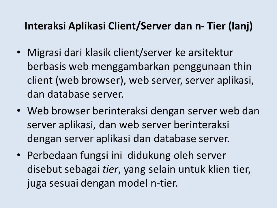 Interaksi Aplikasi Client/Server dan n- Tier (lanj) Migrasi dari klasik client/server ke arsitektur berbasis web menggambarkan penggunaan thin client