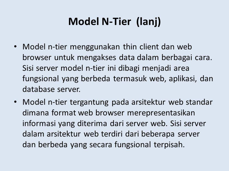 Model n-tier menggunakan thin client dan web browser untuk mengakses data dalam berbagai cara. Sisi server model n-tier ini dibagi menjadi area fungsi