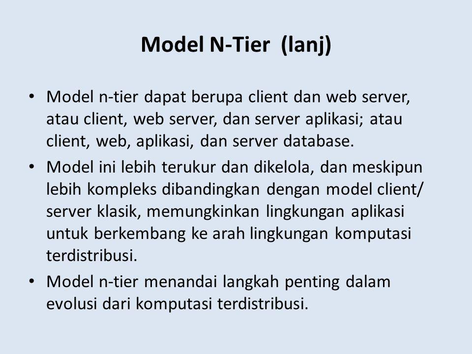 Model n-tier dapat berupa client dan web server, atau client, web server, dan server aplikasi; atau client, web, aplikasi, dan server database. Model