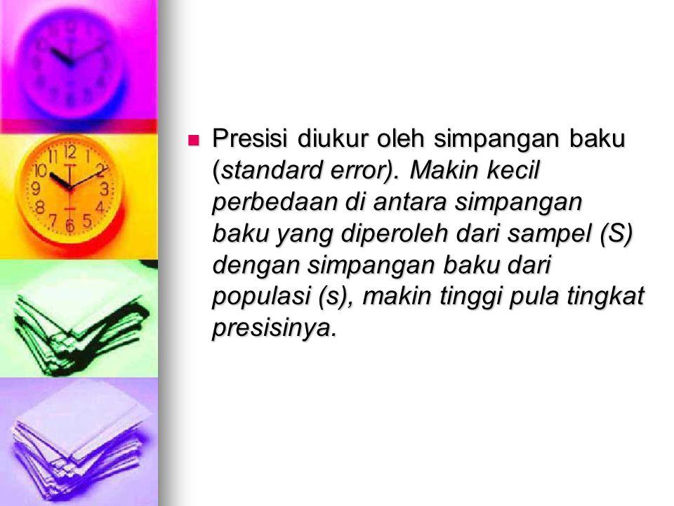 Presisi diukur oleh simpangan baku (standard error). Makin kecil perbedaan di antara simpangan baku yang diperoleh dari sampel (S) dengan simpangan ba