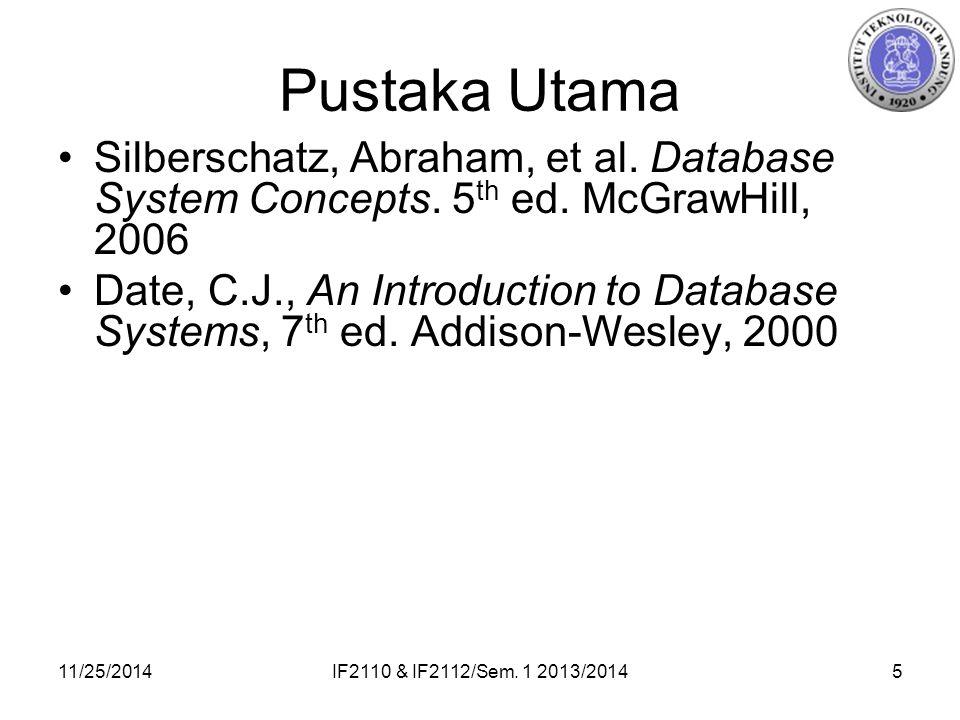 11/25/2014IF2110 & IF2112/Sem. 1 2013/20145 Pustaka Utama Silberschatz, Abraham, et al.