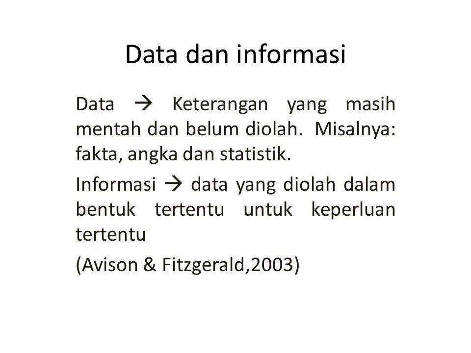 Data dan informasi Data  Keterangan yang masih mentah dan belum diolah.