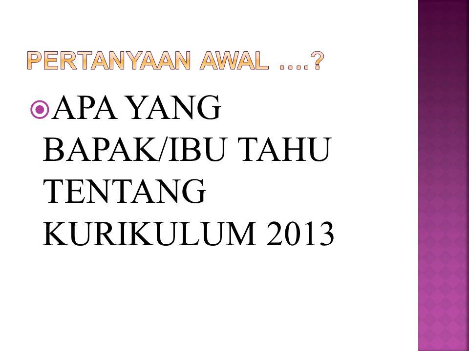  APA YANG BAPAK/IBU TAHU TENTANG KURIKULUM 2013