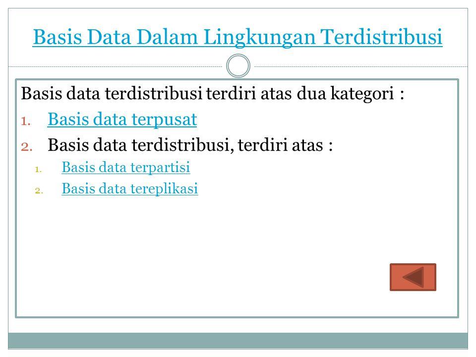 Basis Data Dalam Lingkungan Terdistribusi Basis data terdistribusi terdiri atas dua kategori : 1. Basis data terpusat Basis data terpusat 2. Basis dat