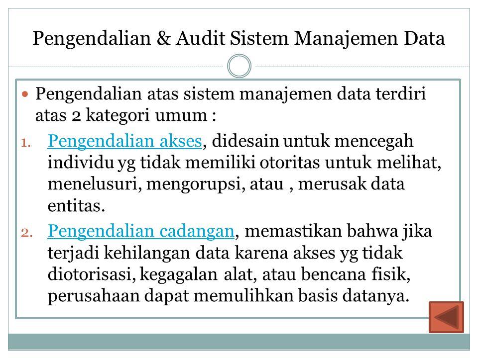 Pengendalian & Audit Sistem Manajemen Data Pengendalian atas sistem manajemen data terdiri atas 2 kategori umum : 1. Pengendalian akses, didesain untu