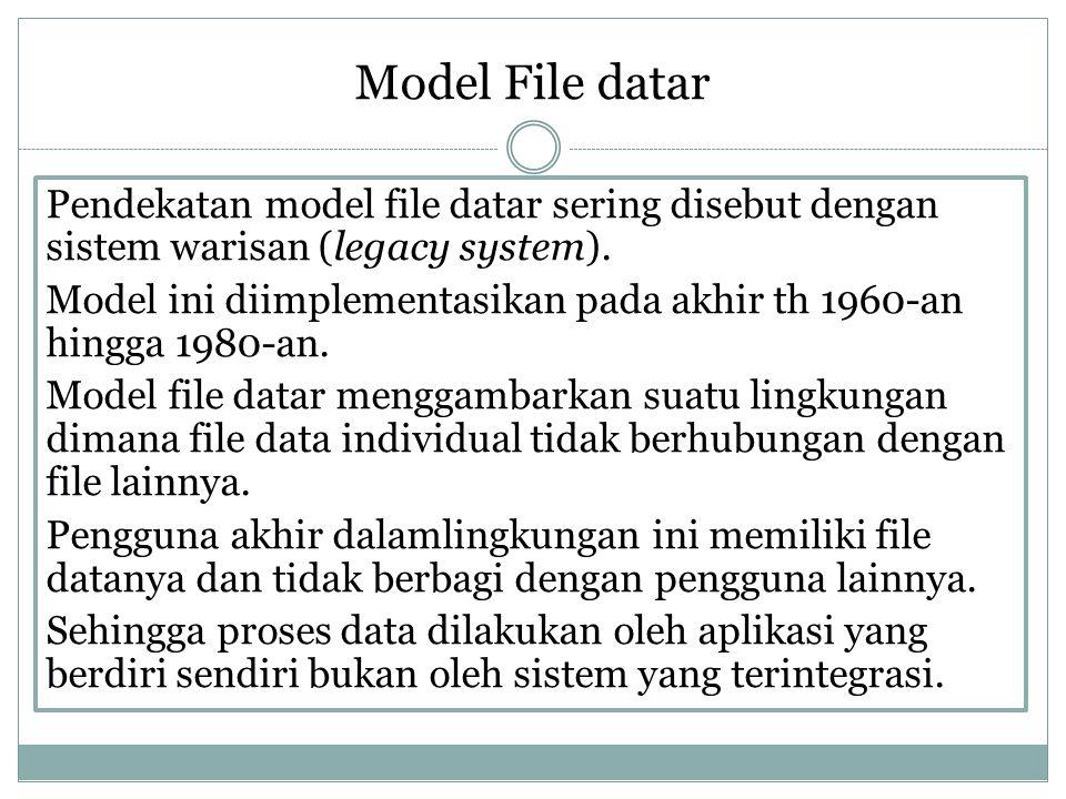 Model File datar Pendekatan model file datar sering disebut dengan sistem warisan (legacy system). Model ini diimplementasikan pada akhir th 1960-an h