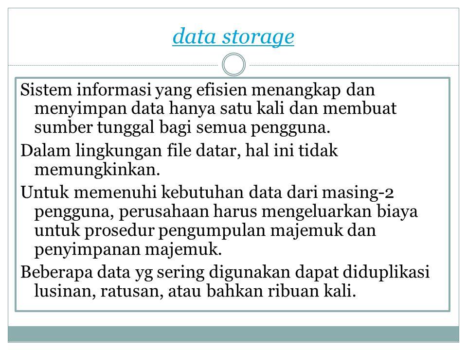 data storage Sistem informasi yang efisien menangkap dan menyimpan data hanya satu kali dan membuat sumber tunggal bagi semua pengguna. Dalam lingkung