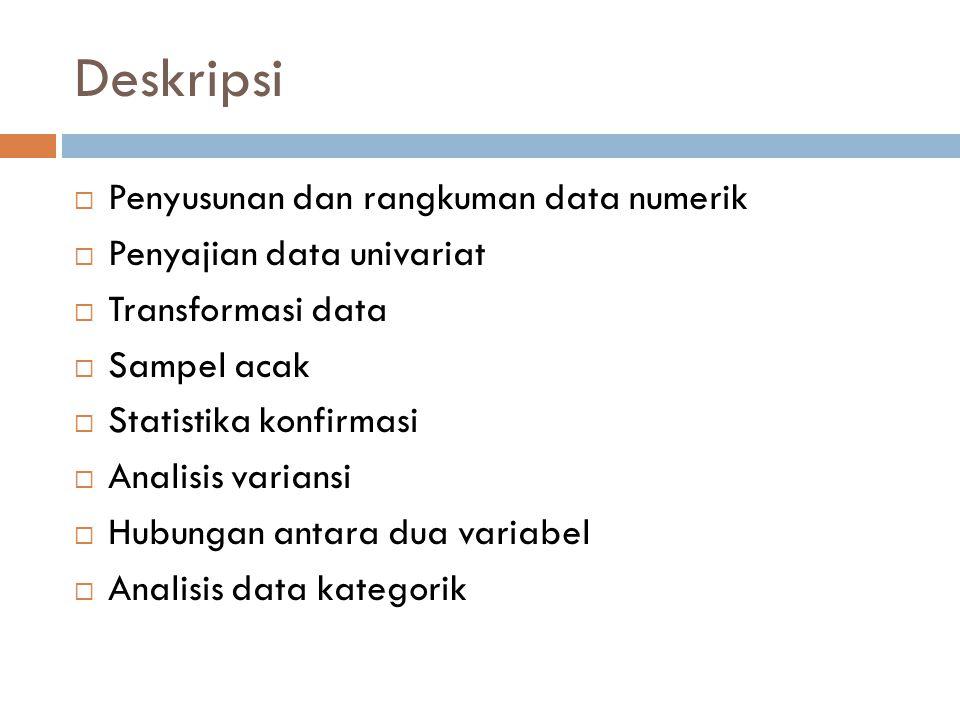 Deskripsi  Penyusunan dan rangkuman data numerik  Penyajian data univariat  Transformasi data  Sampel acak  Statistika konfirmasi  Analisis vari