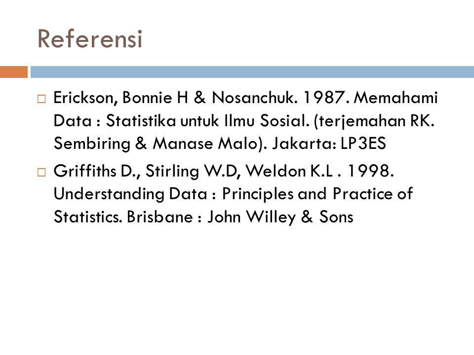 Referensi  Erickson, Bonnie H & Nosanchuk. 1987. Memahami Data : Statistika untuk Ilmu Sosial. (terjemahan RK. Sembiring & Manase Malo). Jakarta: LP3