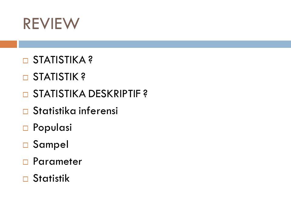 REVIEW  STATISTIKA ?  STATISTIK ?  STATISTIKA DESKRIPTIF ?  Statistika inferensi  Populasi  Sampel  Parameter  Statistik
